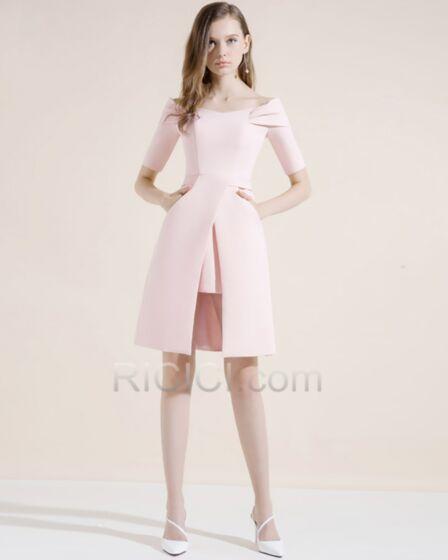 Split Short Satin Sheath 2018 Semi Formal Dresses Dress For Wedding Beautiful Cocktail Dress Peplum