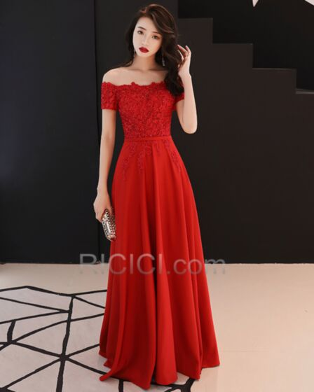 Maxi Off The Shoulder Charming Appliques Bridesmaid Dress Chiffon Empire Lace Formal Evening Dress Red