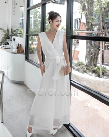 Wide Leg Pants Casual Wear Smock Jumpsuits Outfits With Belt Wrap Low Cut Open Back White