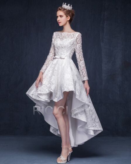 2018 Short High Low Beach Wedding Dress Fit And Flare Lace White Square Neck Bohemian Bridal Gowns Appliques Ruffle Long Sleeve Reception