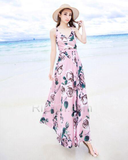 Wrap Summer Spaghetti Strap Dress Beachwear Long Chiffon Light Pink Backless Printed Sleeveless