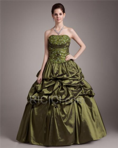 Prom Dress Appliques Long Ruffle Transparent Ball Gowns Sleeveless Gorgeous Strapless Quinceanera Dress Spring Olive Green