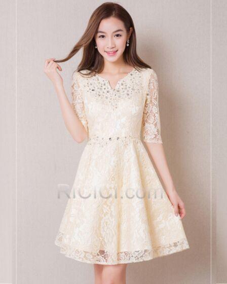 Beaded Spring Short Cute Bridesmaid Dress A Line Lace Rhinestones