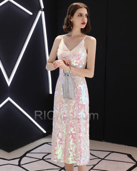 Sequin 2018 Cocktail Dresses Sheath Open Back Simple Sparkly Blush Pink Tea Length Party Gowns