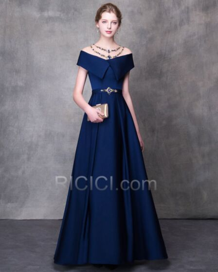A Line With Train Tulle Prom Dress Royal Blue Evening Dresses Open Back Summer See Through Satin Off The Shoulder Beaded
