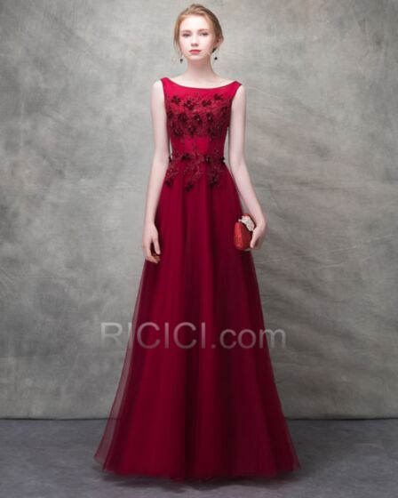 Burgundy Prom Dresses Tulle Evening Dresses Beaded Beautiful Princess Long