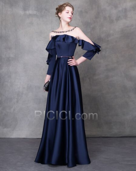 Navy Blue Empire Tulle See Through Ruffle Long Summer Off The Shoulder Long Sleeve Evening Dresses With Belt
