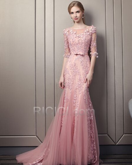 Open Back Lace Scoop Neck Elegant Long Bohemian Prom Dresses Half Sleeve Blushing Pink Formal Evening Dress