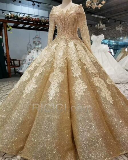 Appliques Gold Ball Gowns Long Sleeved Sequin Open Back Church Wedding Dresses Luxury Plunge