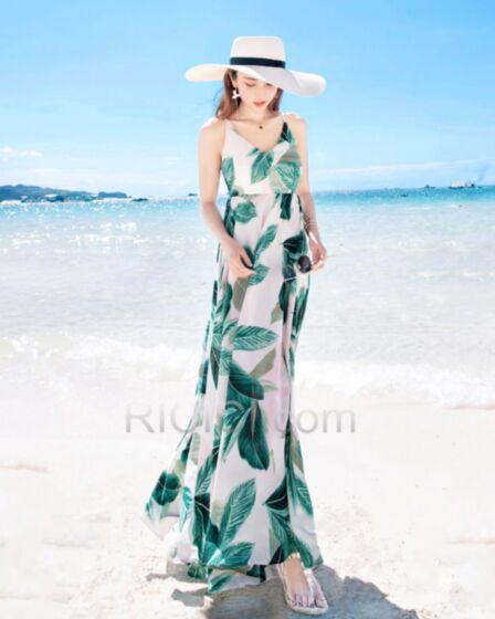 Summer Empire Beachwear Bohemian Olive Green Open Back Chiffon Dresses Maxi Spaghetti Strap