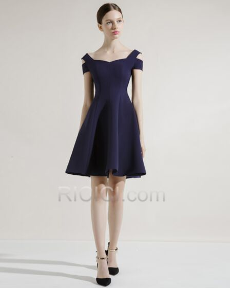 2018 Simple Cute Out Short Dress For Wedding Guest Backless Fit And Flare Semi Formal Dresses Elegant