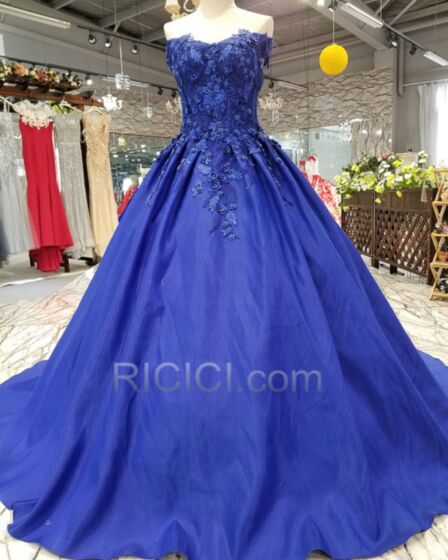 Princess Prom Dress Blue Open Back Lace Sleeveless Satin Off The Shoulder Charming