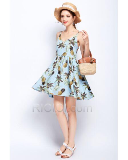 Skater Sundress Bohemian Beach Dress Short Summer 2018 Light Blue Cute Dress Backless