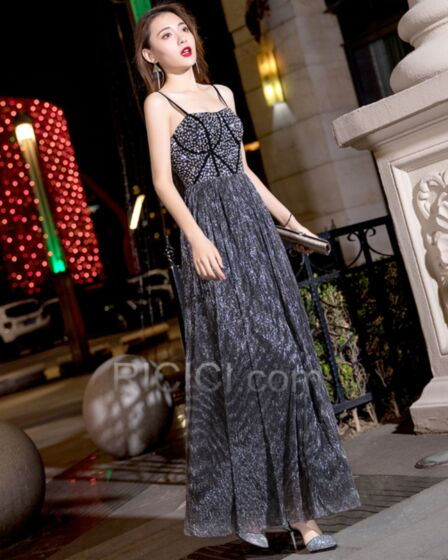 Sequin Long Beading Empire Pleated Sleeveless Prom Dresses 2019 Black Crystal Evening Dresses Sexy
