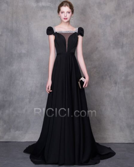 Beading Sleeveless Evening Dress Low Cut Charming Black Satin Chiffon Princess Crystal Prom Dresses