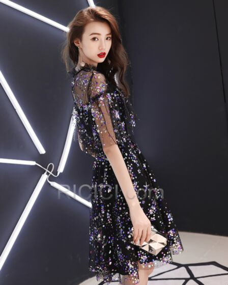 Open Back See Through Sexy Mini Sequin Club Dress Black Summer Sparkly Cocktail Dress High Neck