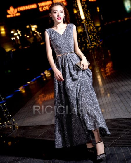 Empire Gray Evening Dresses Sparkly Homecoming Dresses With Belt Glitter