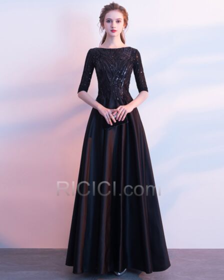 Fit And Flare 2018 Sparkly Sequin Square Neck Black Spring Evening Dress Modest