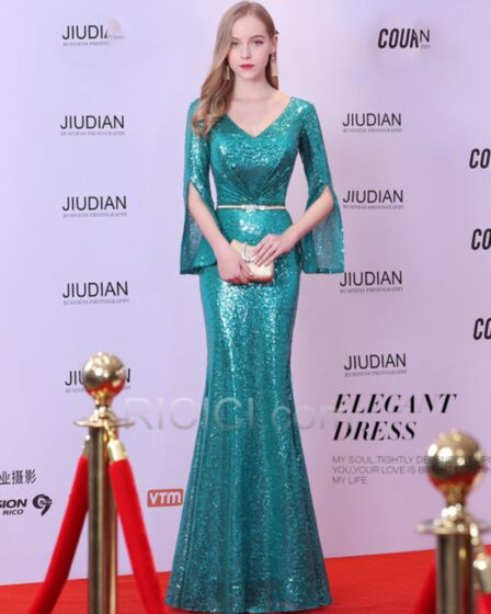 Mermaid Long Gorgeous With Belt Plunge Sparkly Half Sleeve Sequin Evening Dress Emerald Green