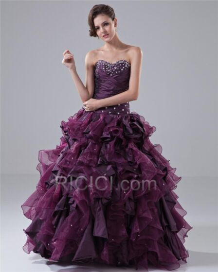 Prom Dress Gorgeous Long Taffeta Beading Quinceanera Dresses Open Back Strapless Pleated Sleeveless