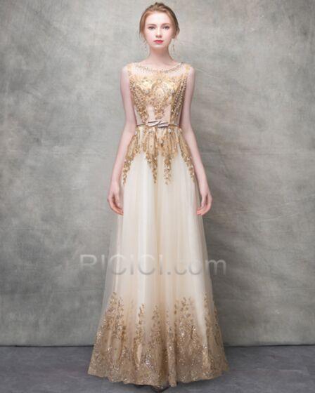Gold Sparkly Evening Dress Gorgeous Glitter Tulle Prom Dress Beaded Sleeveless Engagement Dress Empire