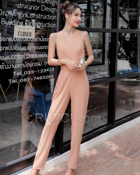 Low Cut Jumpsuits 2019 Casual Wear Spring Going Out Wrap With Belt Chiffon Sleeveless