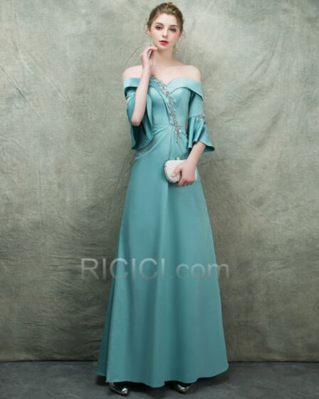 Turquoise Charming Mother Of Bridal / Groom Dress Fit And Flare Flounce Empire Bell Sleeve Satin Open Back Evening Dress