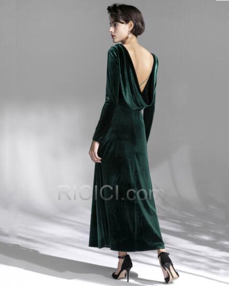Vintage Simple Backless Velvet Fit And Flare Long Sleeve Dark Green Long Mother Of Bridal Dress Formal Evening Dress