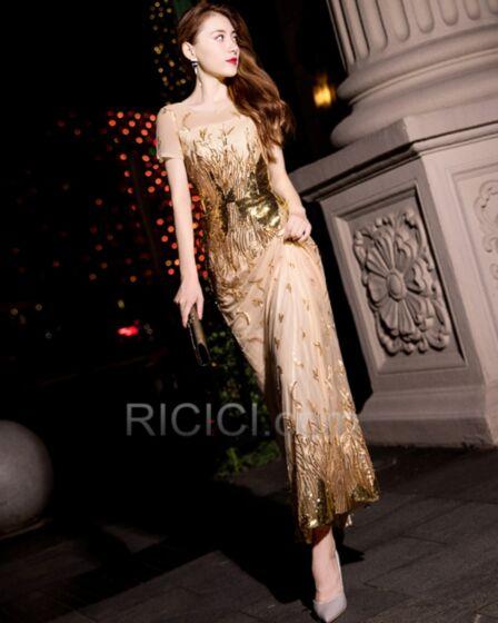 2019 Sequin Elegant Sparkly Short Sleeve Formal Evening Dress Sheath Gala Dresses