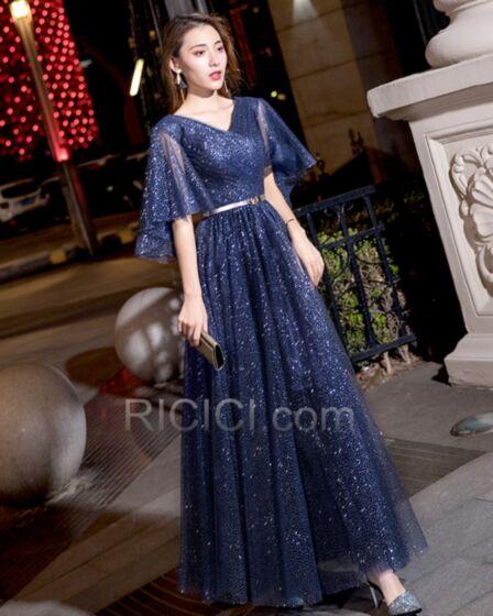 2019 Prom Dresses Bell Sleeved Formal Evening Dress Glitter Spring Open Back Elegant Half Sleeve Long Navy Blue