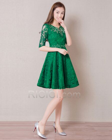 Cocktail Dress Dress For Wedding Guest Boho 2018 Lace Short