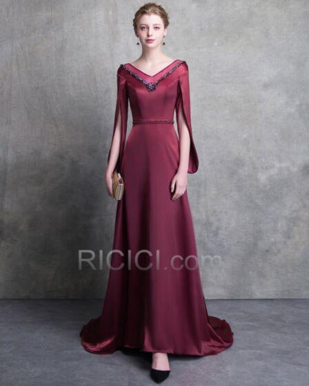 Empire Summer Satin Mother Of Bridal Dress Long Sleeve Formal Dresses Customizable Long Beading Burgundy 2018