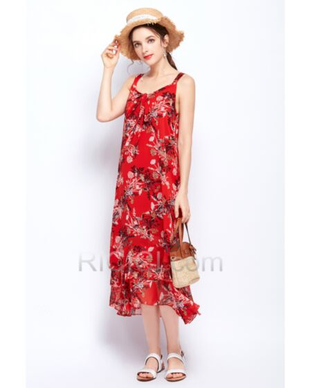 Maxi Chiffon Open Back Summer Spaghetti Strap Straight Beachwear Red Bohemian Dresses