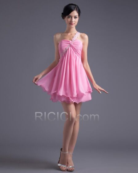 Sexy Light Pink Cocktail Dresses Chiffon One Shoulder Empire Teens Short Backless