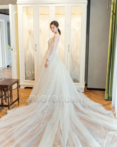 Sexy Bohemian A Line Lace See Through Ivory Beach Summer Spring Long Sleeves Beading 2018 With Train Wedding Dresses