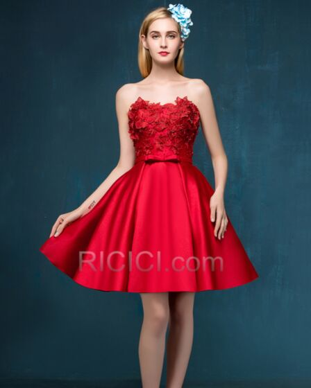Bandeau Sweetheart Short Red Lace Bohemian Cocktail Dresses Sleeveless