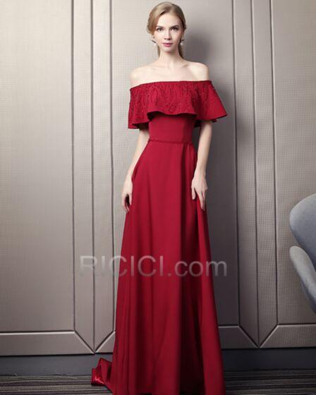 Empire Open Back Charming Satin Customizable Burgundy Off The Shoulder Evening Dresses Peplum Simple