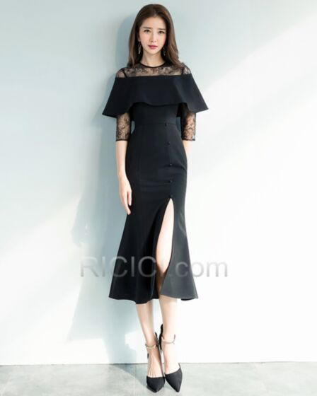 Ankle Length Lace Sheath Elegant Peplum Dress For Wedding Scoop Neck Semi Formal Dresses Satin