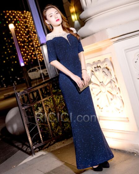 Navy Blue Backless Long Sparkly Charming Plunge Sequin Evening Dresses Sheath