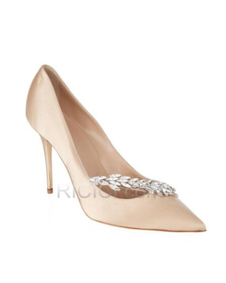 With Crystal Pointed Toe Pumps Dress Shoes Sparkly Champagne Stiletto Heels 8 cm High Heel Bridesmaid Shoes Prom Shoes