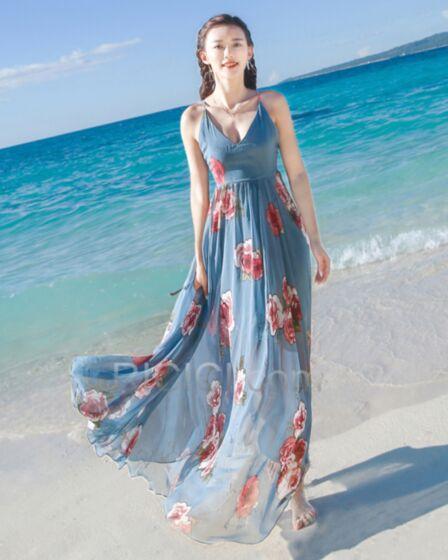 Dress Swing Empire Sleeveless Simple Summer Low Cut Beachwear