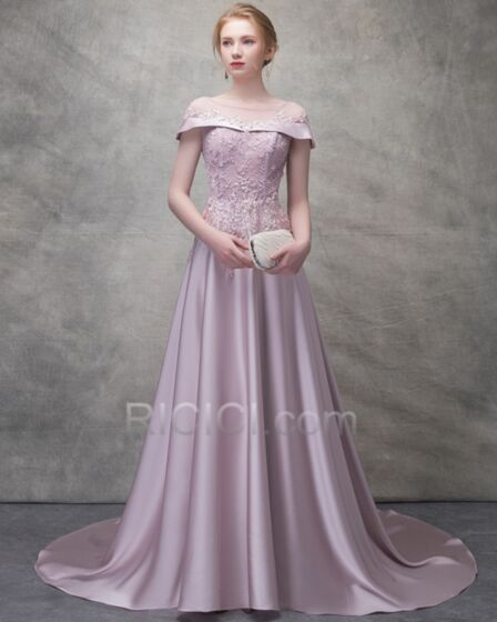 Homecoming Dresses Summer Evening Dresses Long A Line Appliques Satin Lavender Lace Backless Transparent