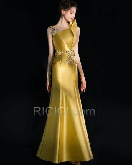 One Shoulder Satin Gold Mermaid Formal Evening Dresses Mother Of Bridal Dress