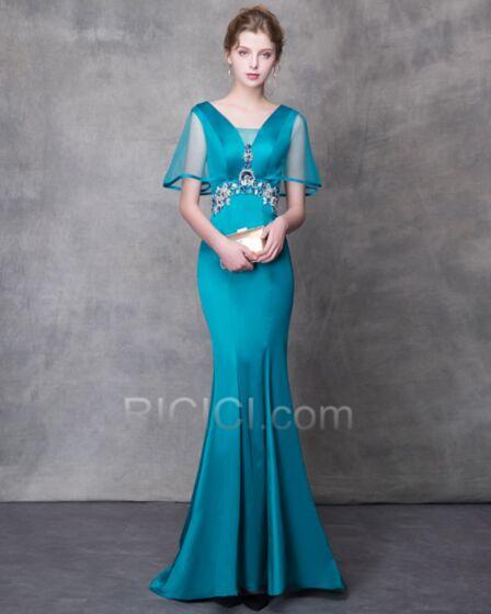 Long With Train See Through Prom Dress Beading Charmeuse Elegant Sheath Mermaid Turquoise Formal Evening Dresses Customizable