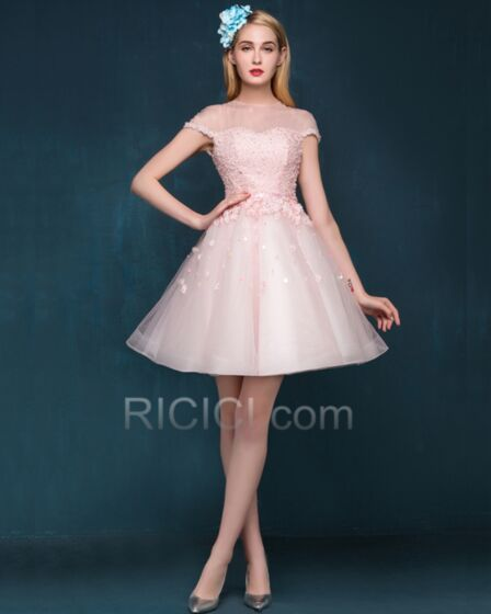 See Through Mini Open Back Fit And Flare Sweet 16 Dress 2018 Tulle Cocktail Dresses Appliques Blushing Pink