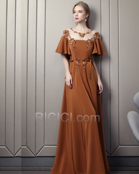 Beaded Bohemian Backless Long Empire Camel Prom Dress See Through Off The Shoulder Appliques Formal Evening Dress