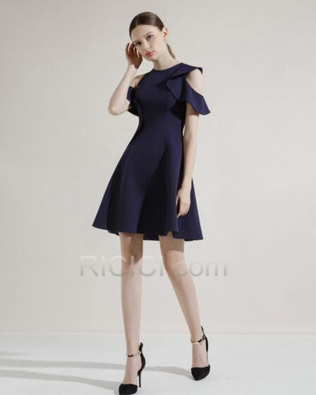 Satin Simple Fit And Flare Short Semi Formal Dress Cocktail Dress Scoop Neck Wedding Party Dress Ruffle