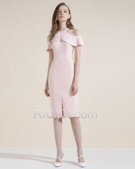Cocktail Dress Satin Blush Pink Sheath Knee Length Semi Formal Dress Dress For Wedding Peplum Choker Neck Hollow Out Halter Elegant
