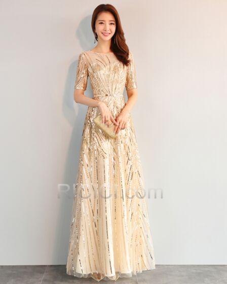 A Line Long Sequin Sparkly Half Sleeve Evening Dresses Gold Gala Dresses