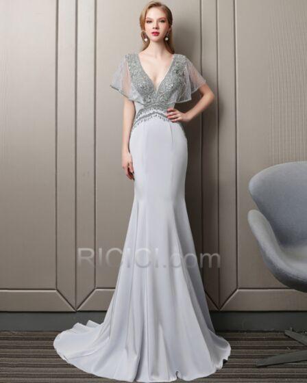 Plunge Backless Formal Evening Dress Gorgeous Gala Dresses 2018 Beading Prom Dresses Sheath Silver